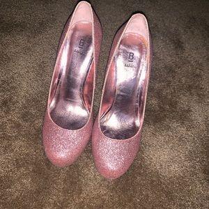 Bakers pink sparkle high heels with platform